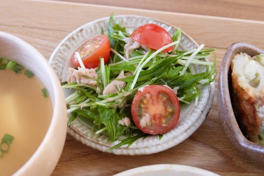 水菜とツナのサラダ【平日の時短ごはんレシピ】