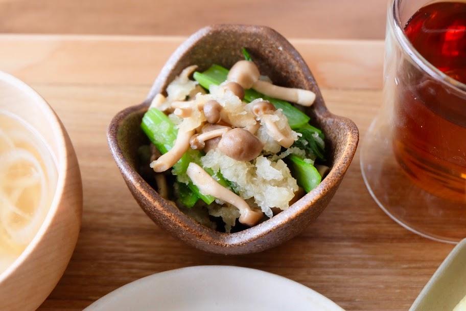 小松菜ときのこのおろし和え【平日の時短ごはんレシピ】