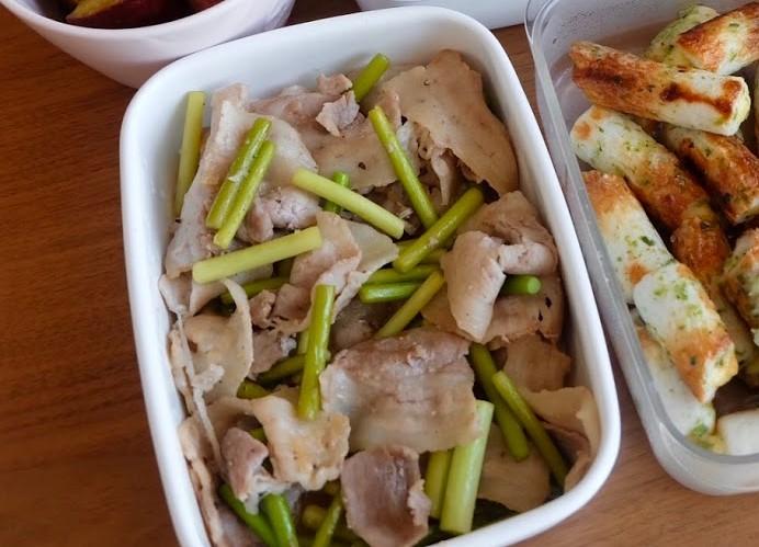 豚バラとニンニクの芽炒め【週末の作り置きおかずレシピ】