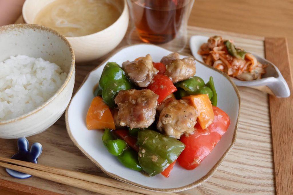 簡単♪豚こまと夏野菜の黒酢あん【時短レシピ】